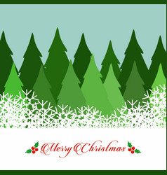 christmas tree with snowflakes and typographic vector image