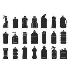cleaning bottles silhouettes laundry detergent vector image