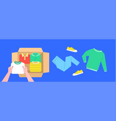 clothes donation flat lines concept with open box vector image