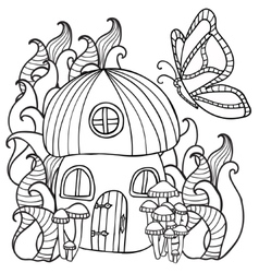 Coloring pages mushroom house with a butterfly vector