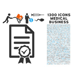 Contract document icon with 1300 medical business vector
