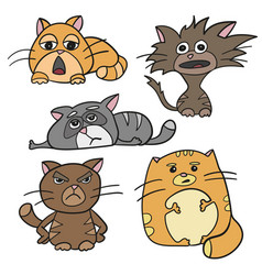 Cute cat characters fat angry sleepy crazy sad vector
