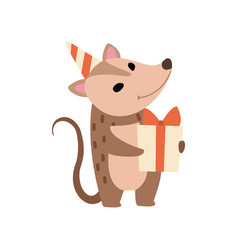 cute opossum in party hat standing with gift box vector image