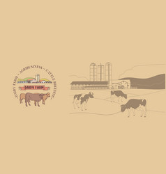 Dairy farm emblem and background vector