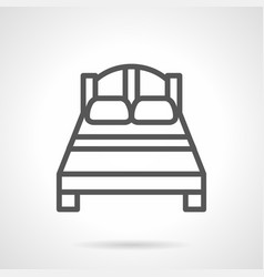 double bed black simple line icon vector image