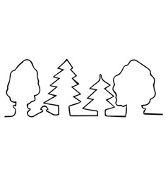 drawn with one line trees in forest vector image