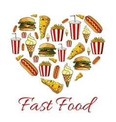 Fast food meal of heart symbol poster vector image