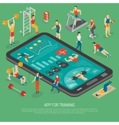 Fitness Smartphone Accessories Apps Isometric vector