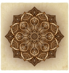 Floral brown round ornament vector
