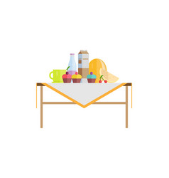 Food on table with sweet cupcakes and milk in pack vector