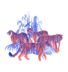 Four graphic tigers standing and walking among the vector