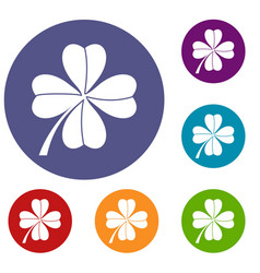 four leaf clover icons set vector image