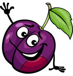 Funny plum fruit cartoon vector