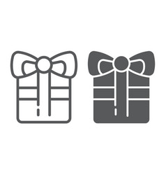 gift line and glyph icon celebration and package vector image