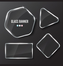 Glass banner realistic vector