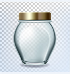 glass bottle closed by golden cap for sugar vector image