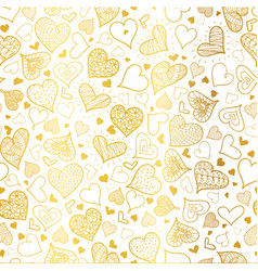 Golden doodle hearts seamless pattern vector