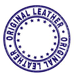 Grunge textured original leather round stamp seal vector