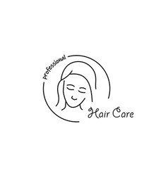 hair care linear icon with young beauty vector image