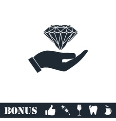 Hand and diamond icon flat vector