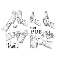 Hands holding and clinking with beer glasses mug vector