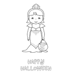 Happy halloween coloring page with cute mermaid vector