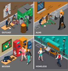 Homeless people isometric design concept vector