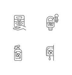 Hygienic hand sanitizers linear icons set vector