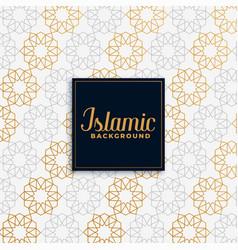 Islamic golden pattern design background vector