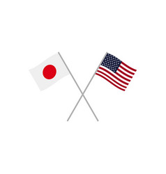 Japan and usa flags vector