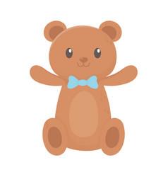 Kids toy teddy bear with bow tie cartoon icon vector