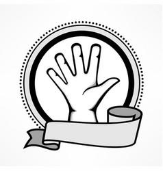 Label with gestures human hand vector