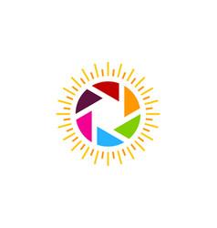 Lens sun logo icon design vector