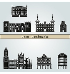 Leon landmarks and monuments vector