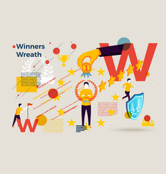 letter w with winners wreath and medal vector image