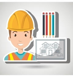 man architect tools vector image