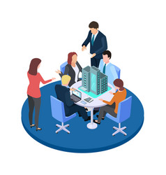 meeting in a construction company business vector image