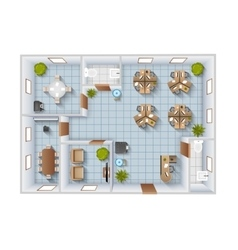 Office Interior Top View vector image