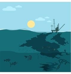 Oil platform in the ocean Water pollution vector