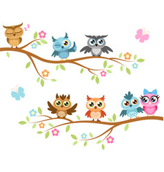 owls on a branch colorful cute friends vector image