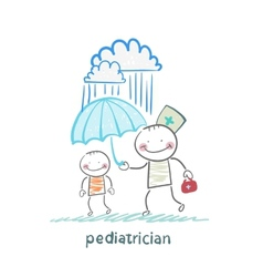 pediatrician holding an umbrella over the child in vector image