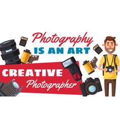 photographer profession and photo equipment vector image