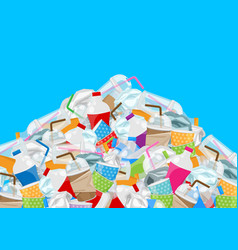 Pile garbage waste plastic and paper in mountain vector
