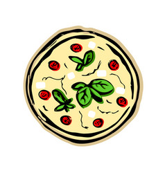 Pizza with tomatoes on a white background vector