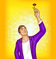 Pop art beauty man holding flower vector