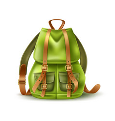 realistic tourist backpack leather straps vector image