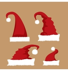 Red Santa hat icon set vector