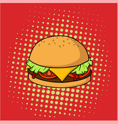 retro delicious hamburger junk food pop art vector image