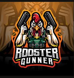 Rooster gunner mascot logo vector