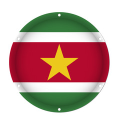round metallic flag of suriname with screw holes vector image